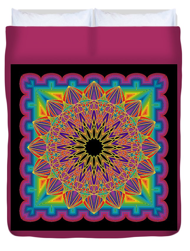 Mandala--shapes And Colors Duvet Cover featuring the digital art Sweet Sixteen by Gerald Brewster