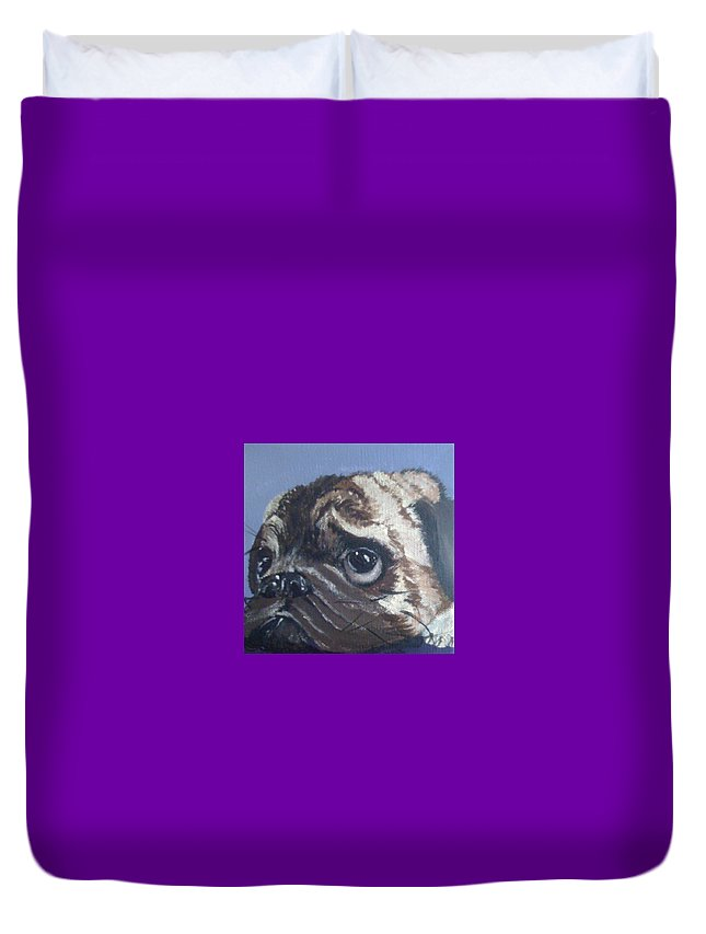 Pug Duvet Cover featuring the painting Sweet Violet by Patti Lane