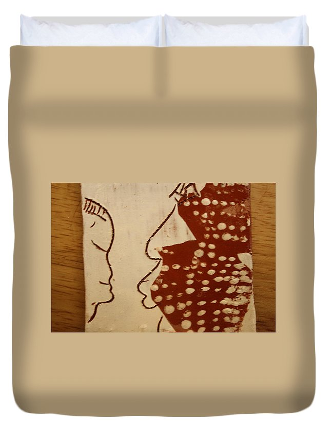 Jesus Duvet Cover featuring the ceramic art Sweethearts 10 - Tile by Gloria Ssali