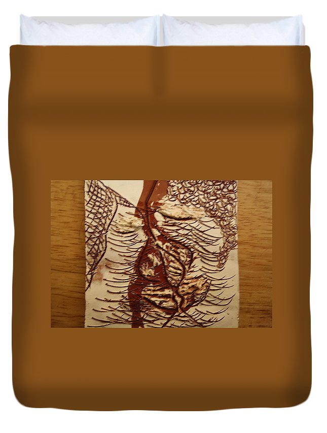 Jesus Duvet Cover featuring the ceramic art Sweethearts 3 - Tile by Gloria Ssali