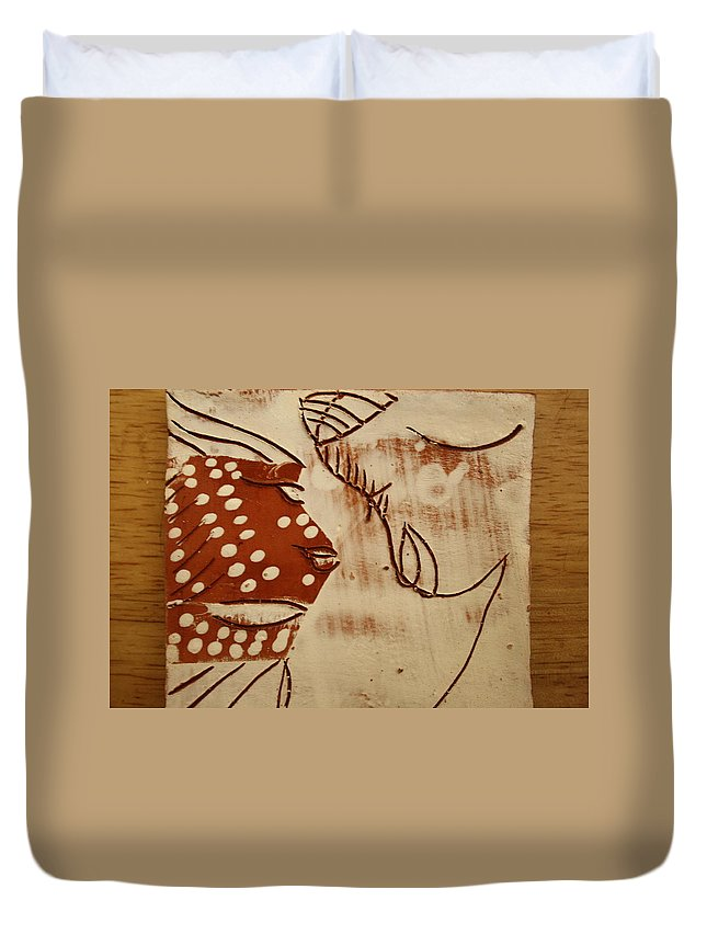 Jesus Duvet Cover featuring the ceramic art Sweethearts 6 - Tile by Gloria Ssali