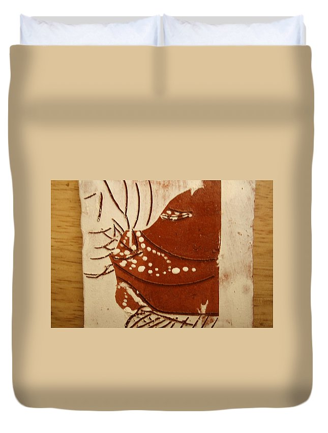 Jesus Duvet Cover featuring the ceramic art Sweethearts 7 - Tile by Gloria Ssali