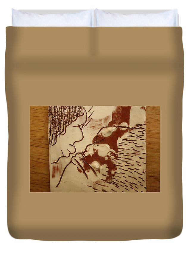 Jesus Duvet Cover featuring the ceramic art Sweethearts 8 - Tile by Gloria Ssali