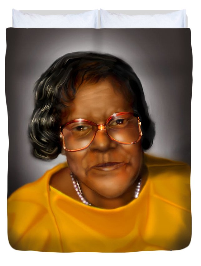Woman Face Duvet Cover featuring the painting Sweetie by Reggie Duffie