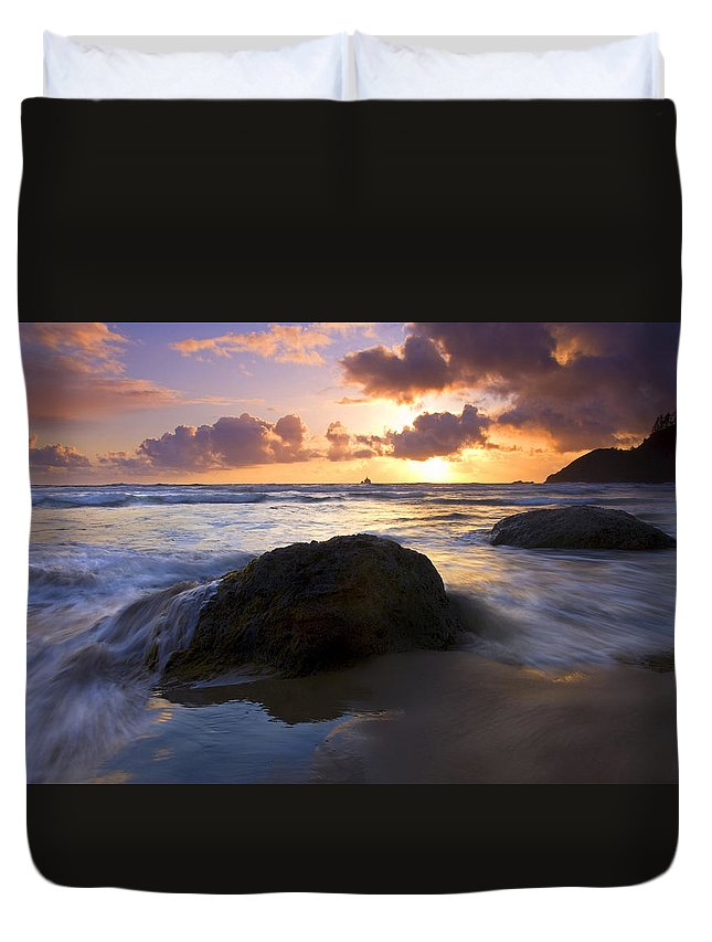Sunset Duvet Cover featuring the photograph Swept Away by Mike Dawson