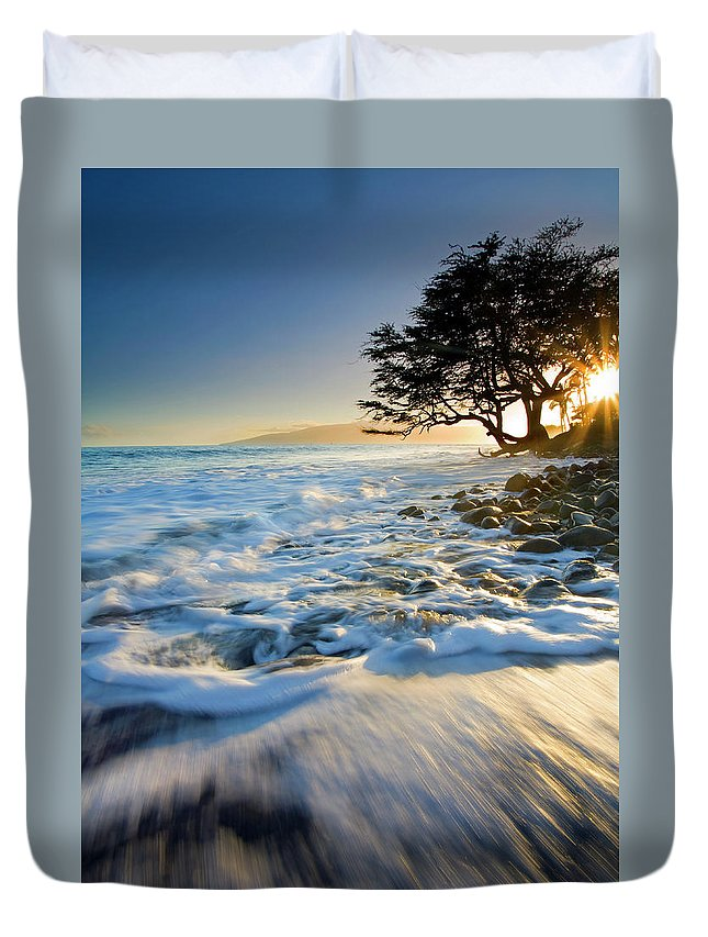 Sunset Duvet Cover featuring the photograph Swept Out To Sea by Mike Dawson