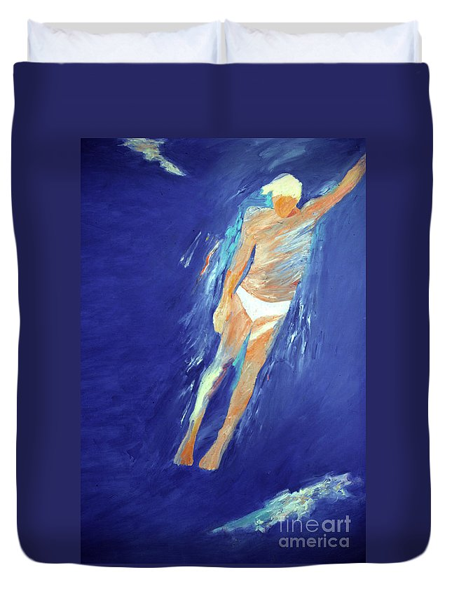 Water Duvet Cover featuring the painting Swimmer Ascending by Lisa Baack