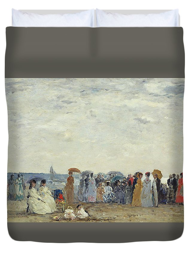 Beach Duvet Cover featuring the painting Swimmers On Trouville Beach by Eugene Louis Boudin