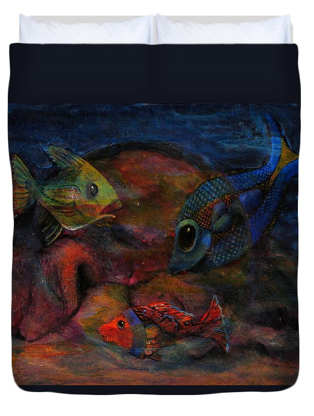 Fish Duvet Cover featuring the painting Swimming At The Rusty Heart by Dennis Tawes