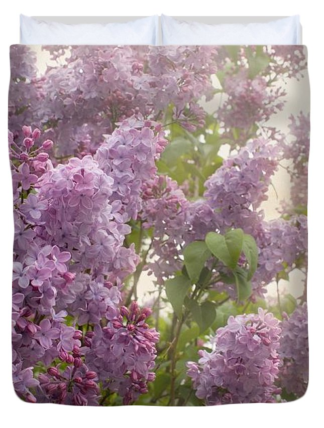 Lilacs Duvet Cover featuring the photograph Swimming In A Sea Of Lilacs by Cindy Garber Iverson