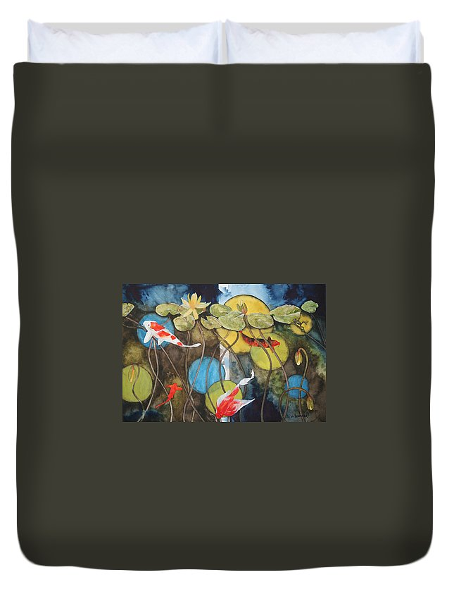 Abstract Duvet Cover featuring the painting Swimming In Circles by Jean Blackmer