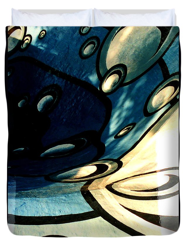 Swimming Pool Mural Duvet Cover featuring the painting Swimming Pool Mural Detail 2 by Rachel Christine Nowicki