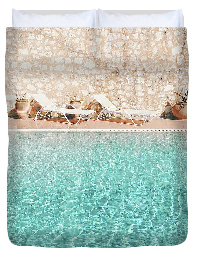 Water Duvet Cover featuring the photograph Swimming Pool V by Cassia Beck