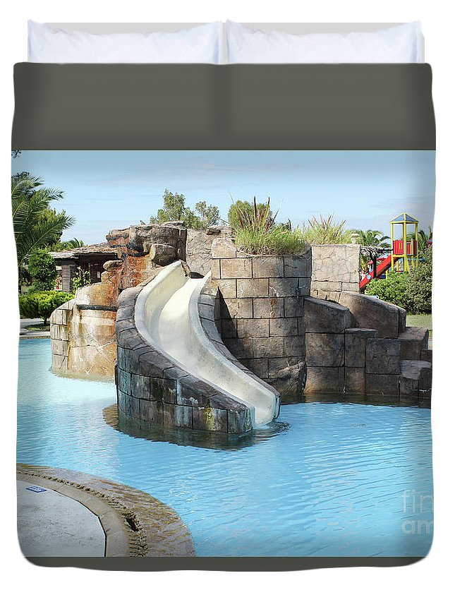 Outdoor Duvet Cover featuring the photograph Swimming Pool With Slide For Children by Goce Risteski