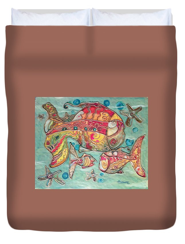 Fish Duvet Cover featuring the painting Swimming With The Stars by Shane Guinn