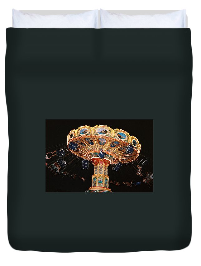 Boardwalk Duvet Cover featuring the photograph Swing by Steve Karol