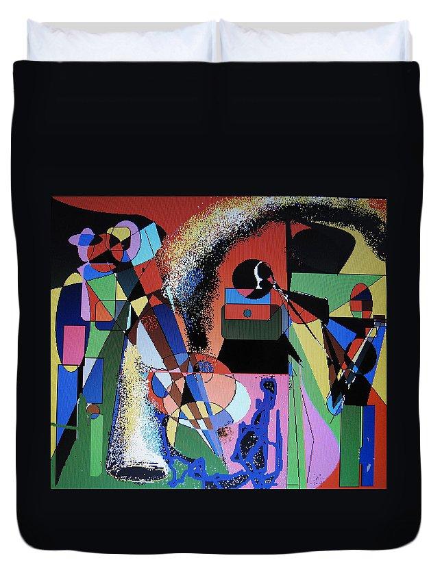 Jazz Duvet Cover featuring the digital art Swinging Trio by Ian MacDonald