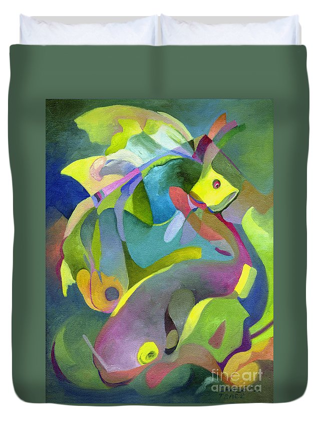 Fish Duvet Cover featuring the painting Swirling Fish by Sally Trace