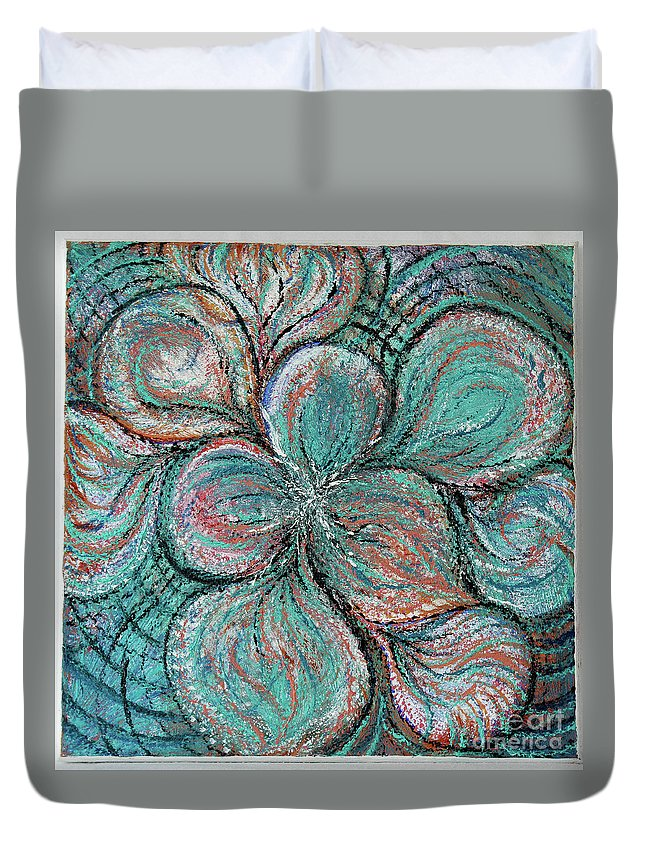 Abstract Contemporary Duvet Cover featuring the painting Swirling by Mary Shawn Newins