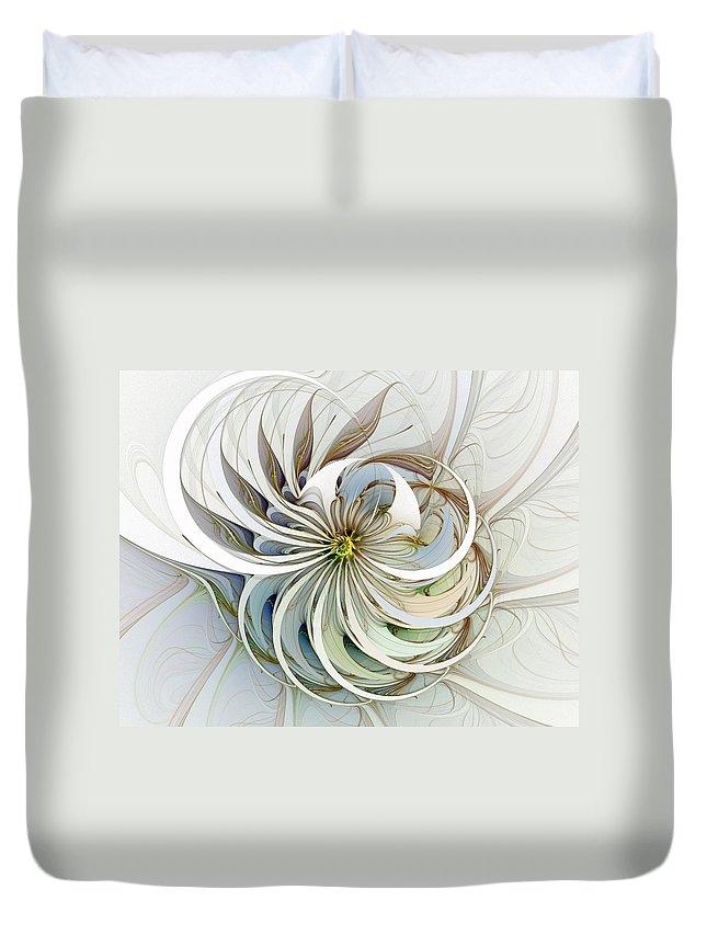 Digital Art Duvet Cover featuring the digital art Swirling Petals by Amanda Moore