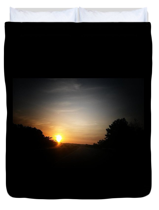 Swirling Sunrise Duvet Cover featuring the photograph Swirling Sunrise by Maria Urso