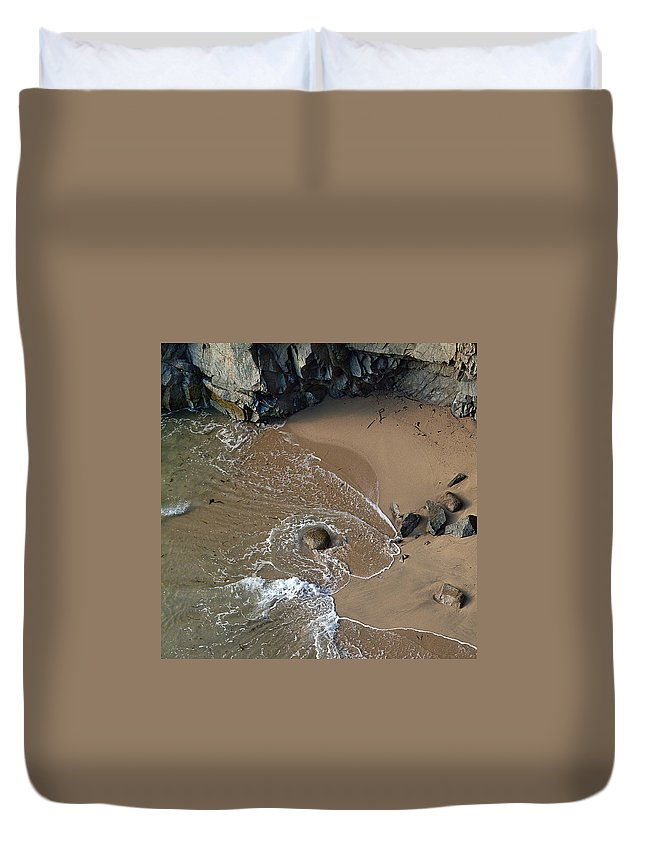 Big Sur Duvet Cover featuring the photograph Swirling Surf And Rocks by Charlene Mitchell