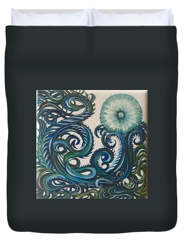 Swirly Duvet Cover featuring the painting Swirly Dandelion by Karen Doyle