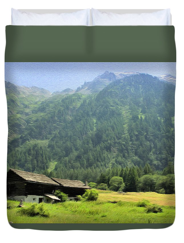 Switzerland Duvet Cover featuring the painting Swiss Mountain Home by Jeffrey Kolker