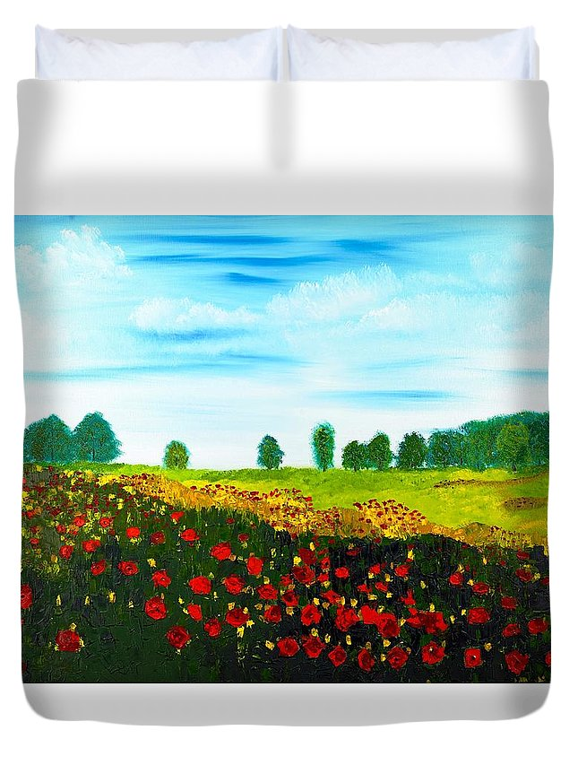 Landscape Duvet Cover featuring the painting Swiss Poppies by Valerie Ornstein