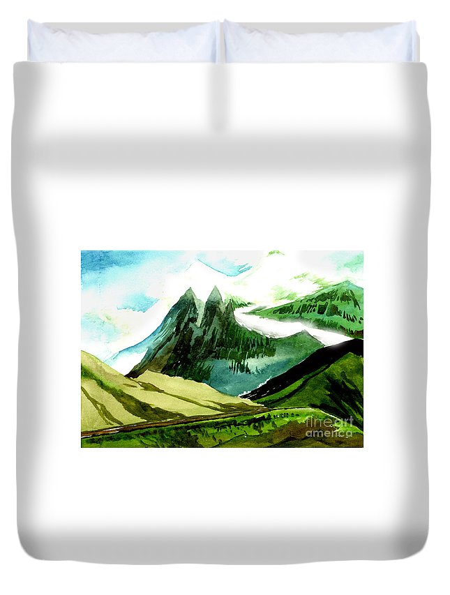 Landscape Duvet Cover featuring the painting Switzerland by Anil Nene