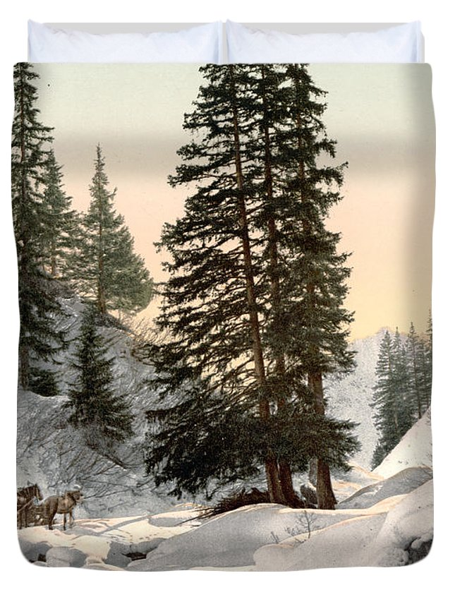 1895 Duvet Cover featuring the painting Switzerland: Davos, C1895 by Granger