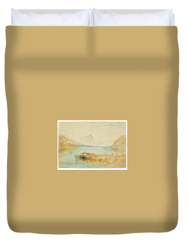 Joseph Mallord William Turner Duvet Cover featuring the painting Switzerland by Joseph Mallord