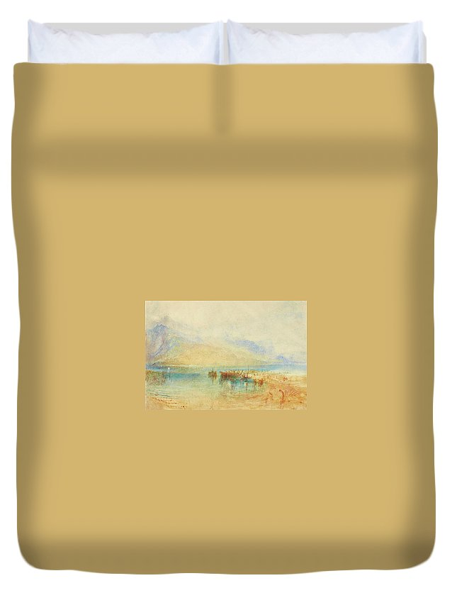 Joseph Mallord William Turner Duvet Cover featuring the painting Switzerland Possibly Lake by Joseph Mallord