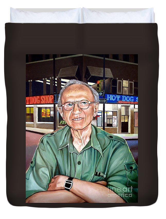 Syd Simon Duvet Cover featuring the painting Syd Simon by Christopher Shellhammer