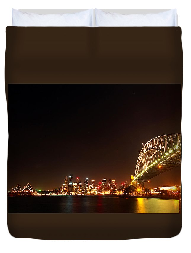 Sydney Duvet Cover featuring the photograph Sydney By Night by Kaleidoscopik Photography