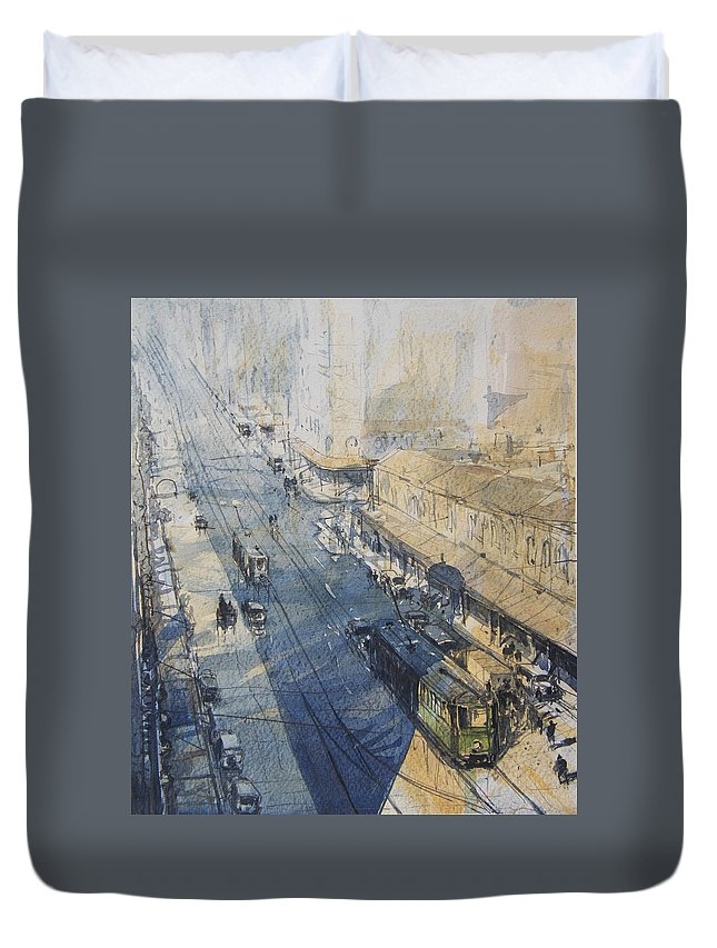 Sydney Duvet Cover featuring the painting Sydney, George St. In 1930 by Tony Belobrajdic