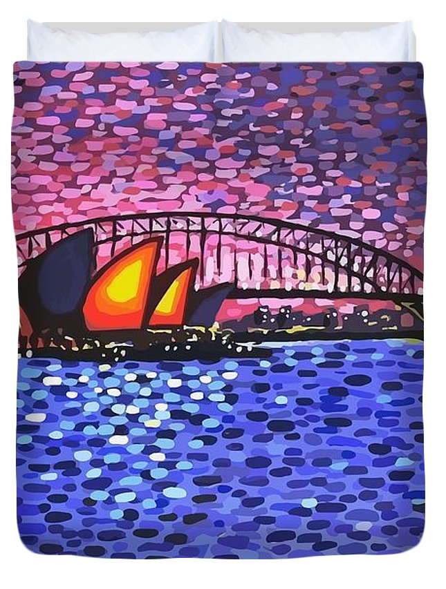 Sydney Duvet Cover featuring the painting Sydney Harbour by Alan Hogan