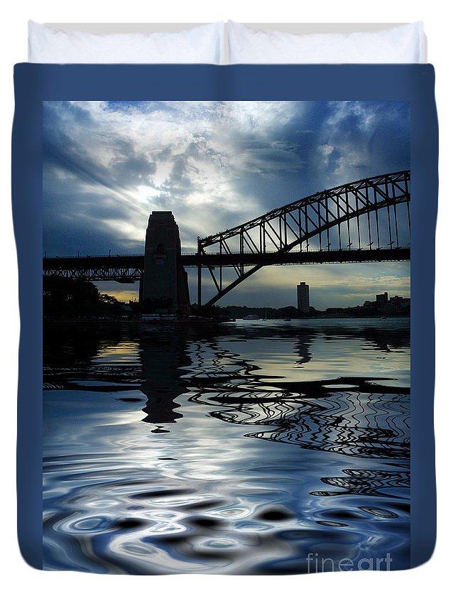 Sydney Harbour Australia Bridge Reflection Duvet Cover featuring the photograph Sydney Harbour Bridge Reflection by Sheila Smart Fine Art Photography