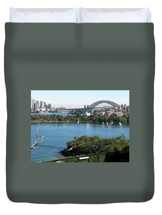Sydney Harbour Duvet Cover featuring the photograph Sydney Harbour by Suzanne Vreeland