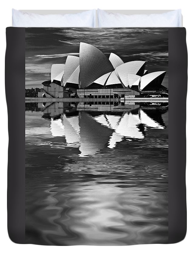 Sydney Opera House Monochrome Black And White Duvet Cover featuring the photograph Sydney Opera House reflection in monochrome by Sheila Smart Fine Art Photography