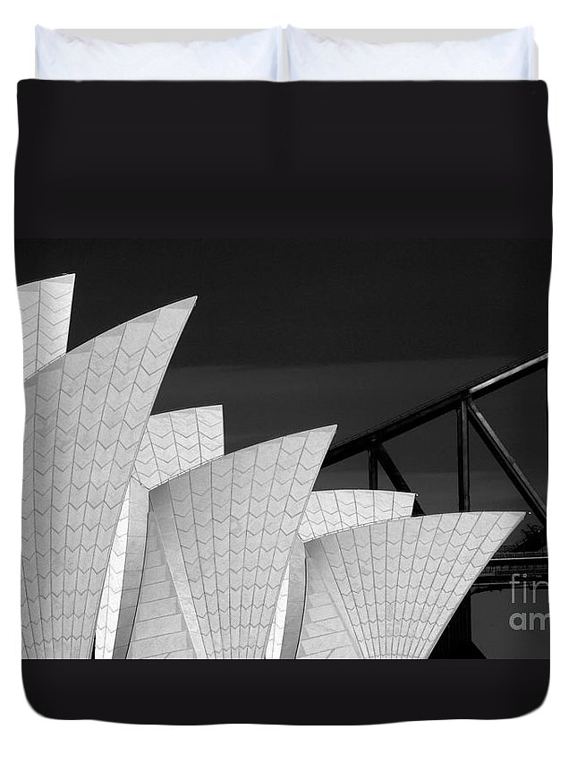 Sydney Opera House Duvet Cover featuring the photograph Sydney Opera House with bridge backdrop by Sheila Smart Fine Art Photography