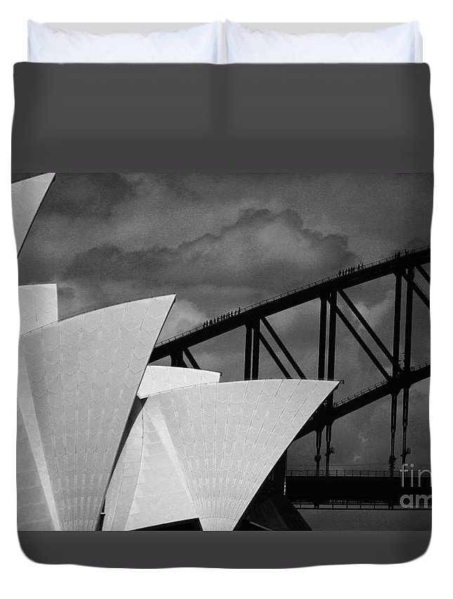 Sydney Opera House Duvet Cover featuring the photograph Sydney Opera House With Harbour Bridge by Avalon Fine Art Photography