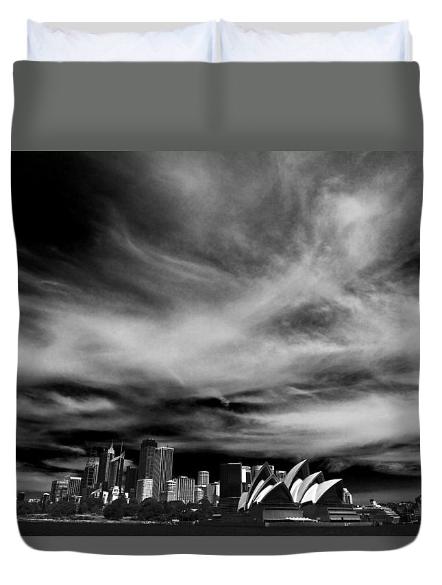 Sydney Duvet Cover featuring the photograph Sydney Skyline With Dramatic Sky by Sheila Smart Fine Art Photography