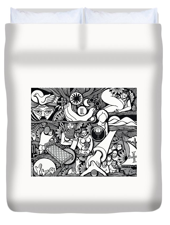 Drawing Duvet Cover featuring the drawing Symbols I Am Sick Of Symbols by Jose Alberto Gomes Pereira