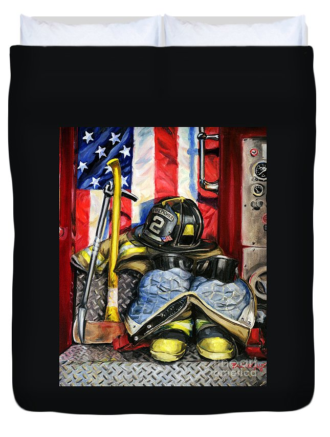 Firefighting Duvet Cover featuring the painting Symbols Of Heroism by Paul Walsh