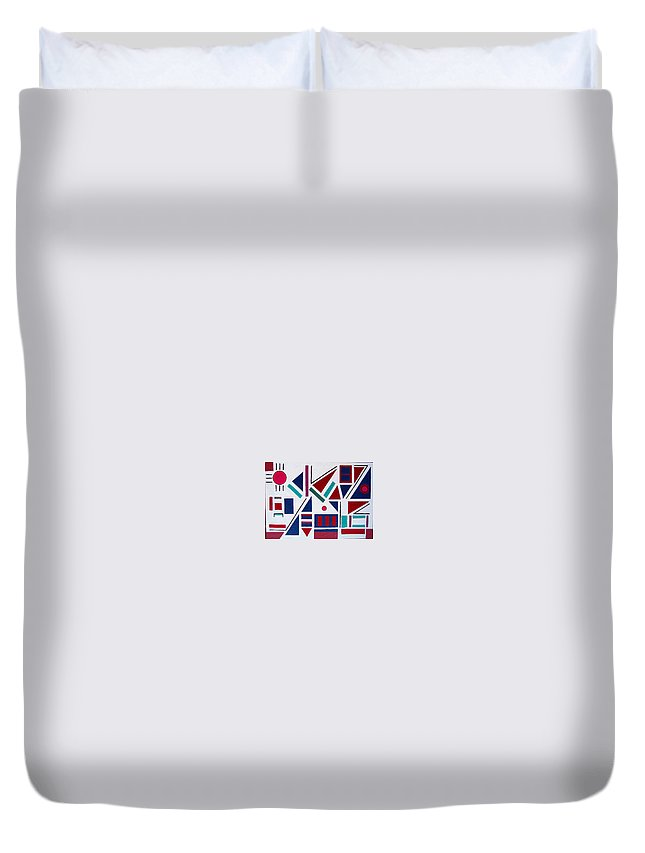 Abstract Duvet Cover featuring the painting Symmetry In Blue Or Red by Marco Morales