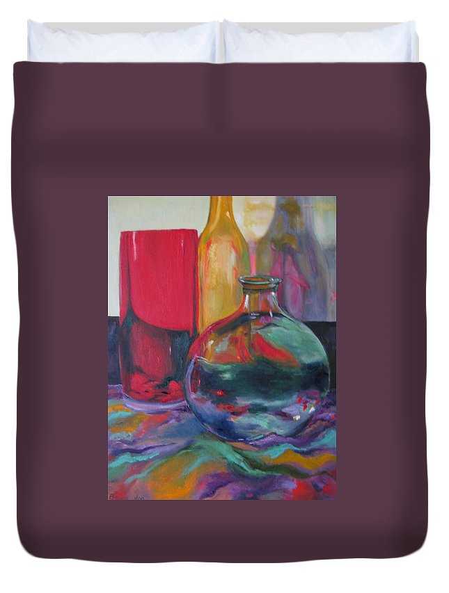 Still Life Duvet Cover featuring the painting Symphony Of Vases by Lisa Boyd