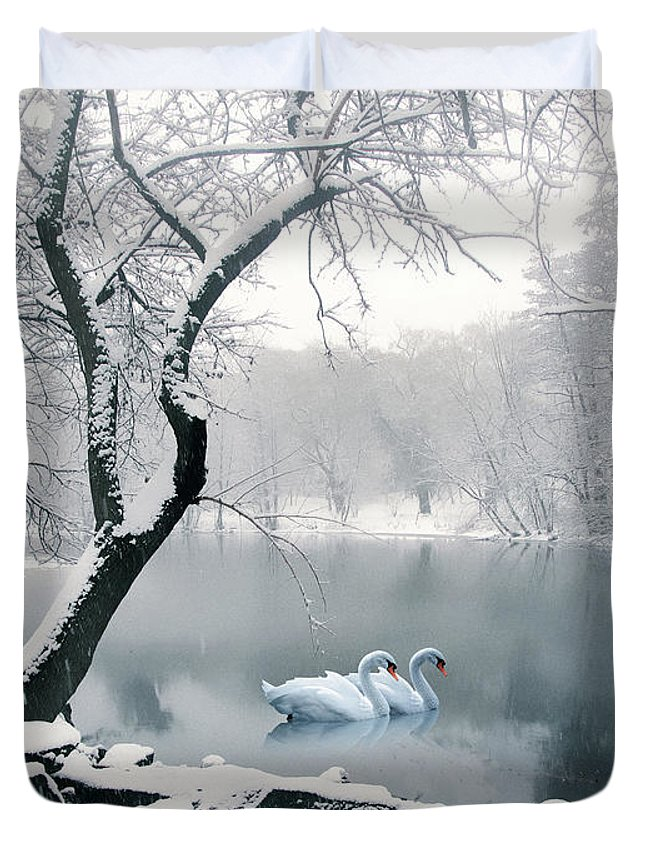 Winter Duvet Cover featuring the photograph Synchronicity by Jessica Jenney