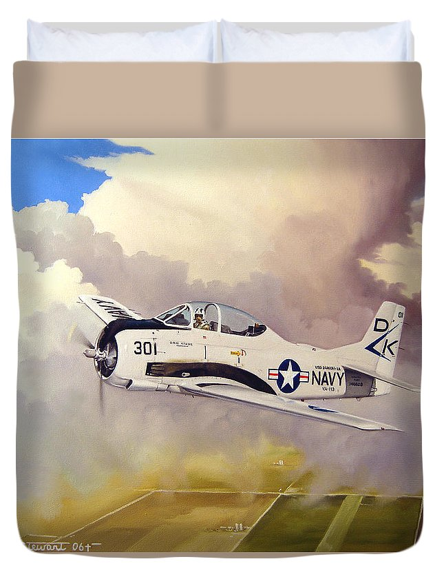Military Duvet Cover featuring the painting T-28 Over Iowa by Marc Stewart