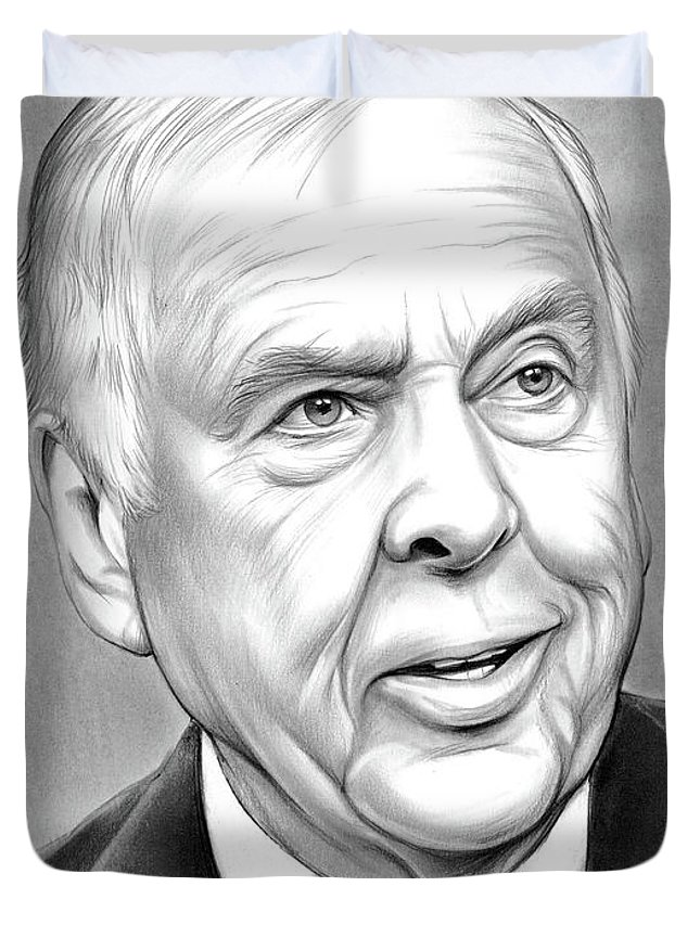 T Boone Pickens Duvet Cover featuring the drawing T Boone Pickens by Greg Joens